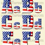 Red White & Blue Flag Digital Alphabet Free Numbers