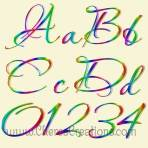 Neon Rainbow Alphabet with Free Numbers Download