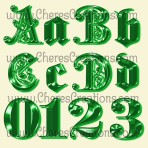 Fancy Alphabet In Five Colors Free Numbers