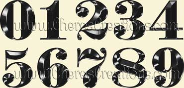 Fancy Black Alphabet Free Numbers