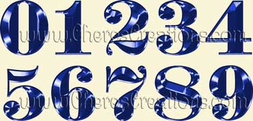 Fancy Blue Alphabet Free Numbers