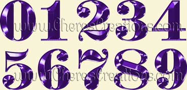 Fancy Purple Alphabet Free Numbers