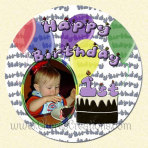 First Birthday Round 3 Inch or 5 Inch Magnet