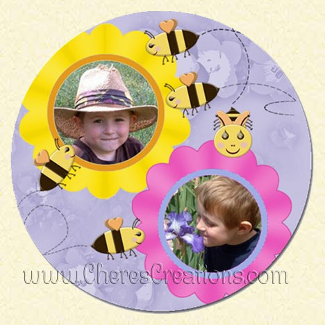 Flowers and Bees Round 5 Inch Magnet)