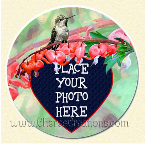 Bleedingheart Hummingbird Round 3 Inch or 5 inch Magnet