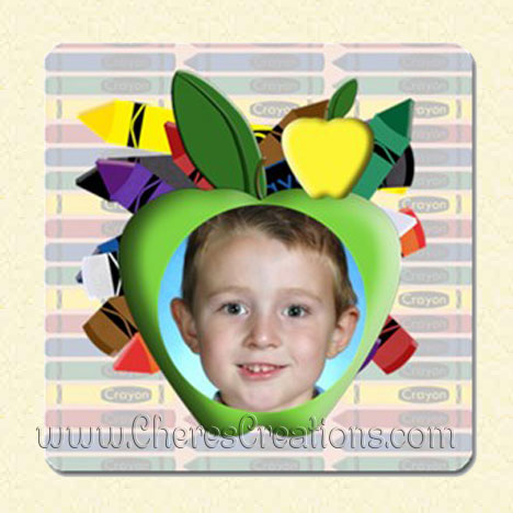 Crayon Apple Frame School 3 x 3 inch Square Magnet