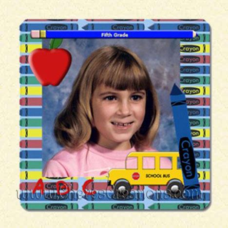 Crayon, Bus, Apple, Pencil Frame School 3 x 3 inch Square Magnet