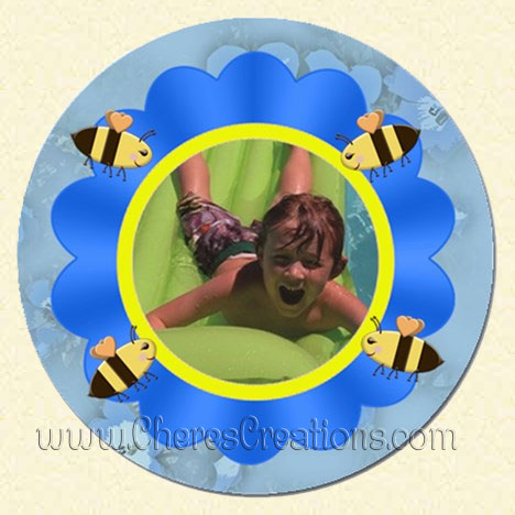 Flower and Bees Blue Round 3 Inch & 5 Inch Magnet
