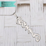Sterling Silver Vertical Carrie Name Necklace Customizable Personalized Fine Jewelry