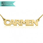 14K Gold Block Letters Name Necklace Customizable Personalized Fine Jewelry