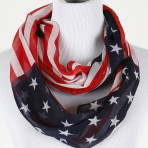 Stars and Stripes Infinity American Flag Sheer Woven Polyester Scarf