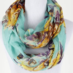 Floral Infinity Sheer Woven Polyester Scarf in Blue, Green or Orange