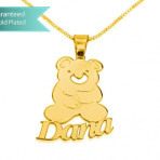 24k Gold Plated Teddy Bear Pendant with Name Customizable Personalized Fine Jewelry