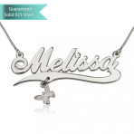 Sterling Silver Allegro with Line and Butterfly Charm Name Necklace Customizable Personalized Fine Jewelry