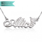 Sterling Silver Allegro Name Necklace with Angel Customizable Personalized Fine Jewelry