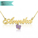 14K Gold Allegro Name Necklace With A Purple Butterfly Customizable Personalized Fine Jewelry