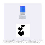 Three Heart Round Self Inking Rubber Stamp