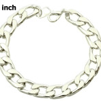 Silver Color Link Metal Chain  Bracelet Fashion Jewelry with 1/4″ or 1/3″ Links