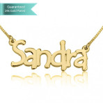 24K Gold Plated Tree Style Name Necklace Customizable Personalized Fine Jewelry