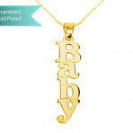 24K Gold Plated Vertical Capital Name Necklace Customizable Personalized Fine Jewelry