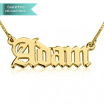 24K Gold Plated Old English Script Name Necklace Customizable Personalized Fine Jewelry