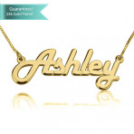 24K Gold Plated Italic Name Necklace Customizable Personalized Fine Jewelry