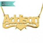 24K Gold Plated Bold Print with Heart Name Necklace Customizable Personalized Fine Jewelry