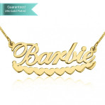 24K Gold Plated Barbie Hearts Name Necklace Customizable Personalized Fine Jewelry