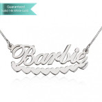 14k White Gold Barbie Hearts Name Necklace Customizable Personalized Fine Jewelry