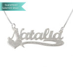 Brushed Sterling Silver Allegro Name Necklace with Side Heart Customizable Personalized Fine Jewelry