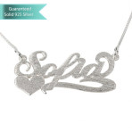 Brushed Sterling Silver Carrie Name Necklace with Side Heart Customizable Personalized Fine Jewelry
