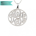 Sterling Silver Medium Circle Monogram Necklace Customizable Personalized Fine Jewelry