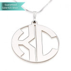 Sterling Silver Capital Border 2 Letters Monogram Necklace Customizable Personalized Fine Jewelry