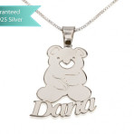 Sterling Silver Teddy Bear Pendant with Name Customizable Personalized Fine Jewelry