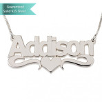 Sterling Silver Bold Print with Heart Name Necklace Customizable Personalized Fine Jewelry