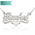 Sterling Silver Allegro with Middle Heart Name Necklace Customizable Personalized Fine Jewelry