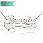 Sterling Silver Handwritten with Side Heart Name Necklace Personalized Fine Jewelry