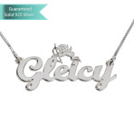 Sterling Silver Handwritten Name Necklace with Bent Cupid Customizable Personalized Fine Jewelry