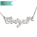 Sterling Silver Hand Name Necklace with Cupid Customizable Personalized Fine Jewelry
