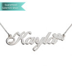 Sterling Silver Delicate Name Necklace with Hearts Customizable Personalized Fine Jewelry