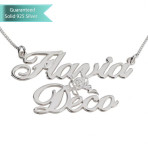 Sterling Silver Two Ailegro Name Necklace with Cupid Customizable Personalized Fine Jewelry