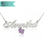 Sterling silver Allegro Name Necklace with Purple Butterfly Customizable Personalized Fine Jewelry