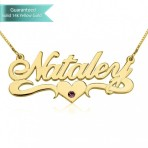 14K Gold Swarovski with Middle Heart Name Necklace Customizable Personalized Fine Jewelry