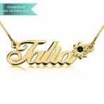 14K Gold Swarovski with Flower Name Necklace Customizable Personalized Fine Jewelry
