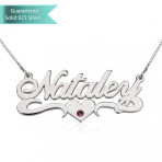 Sterling Silver Swarovski with Middle Heart Name Necklace Customizable Personalized Fine Jewelry
