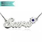 Sterling Silver Swarovski with Flower Name Necklace Customizable Personalized Fine Jewelry