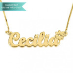 14K Gold Allegro with A Flower Name Necklace Customizable Personalized Fine Jewelry