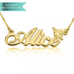 14K Gold Allegro Name Necklace with Angel Customizable Personalized Fine Jewelry