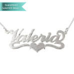 Brushed Sterling Silver Carrie Name Necklace with Center Heart Customizable Personalized Fine Jewelry