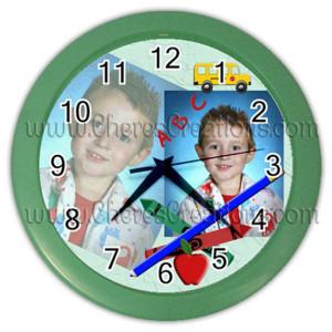 school-clock-green